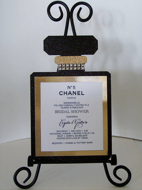 Chanel No 5 Perfume Bridal Shower Invitation
