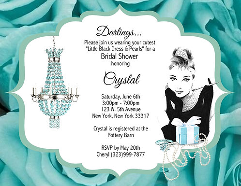 Tiffany Flower Bridal Shower Party and  Event Invitation