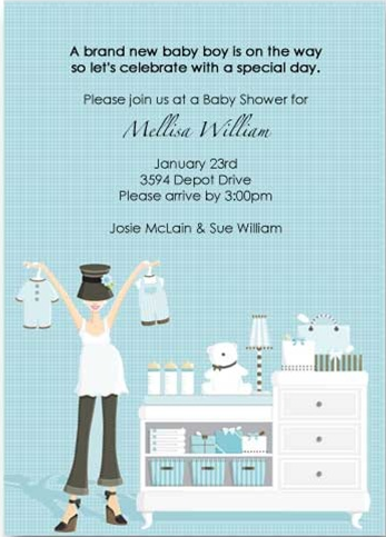 Blue Hat Changing Table Baby Shower Invitation