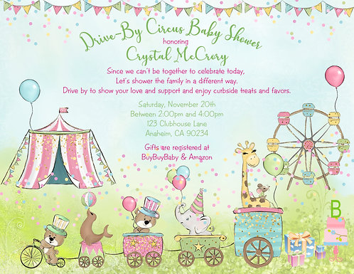 Drive-By Circus Baby Shower Parade Invitations (sold in sets of 10)
