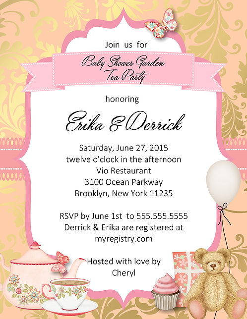 Garden Tea Party  Baby Shower Invitation