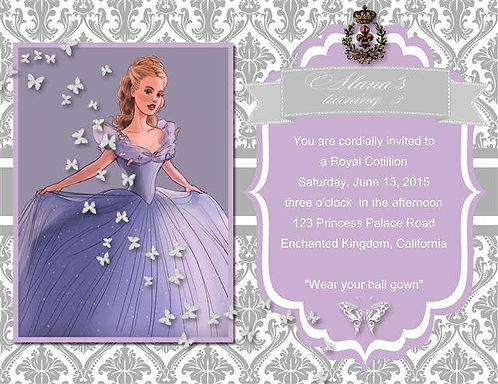 #2 New Cinderella Birthday Party Invitation