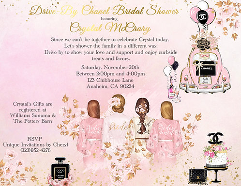 Chanel Drive-By Blonde Bridal Shower Invitation (sold in sets of 10)