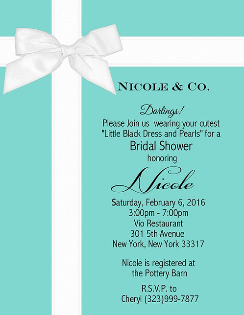 Tiffany and Co Baby Shower Invitations (sold in sets of 10)