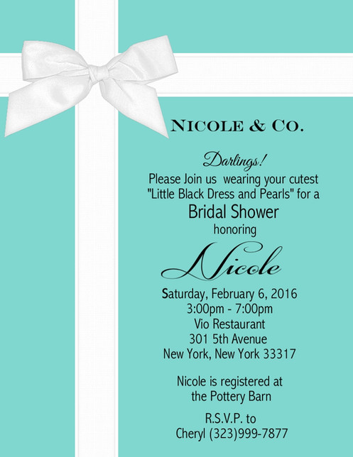 Tiffany And Co Baby Shower Invitations Sold In Sets Of 10