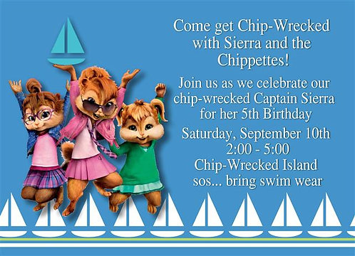 Chipwrecked Chippettes Birthday Party Keepsake Bottle Invitation