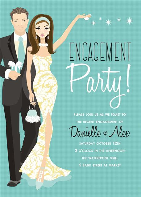 Blue Brunette Couples Engement Party and  Event Invitation