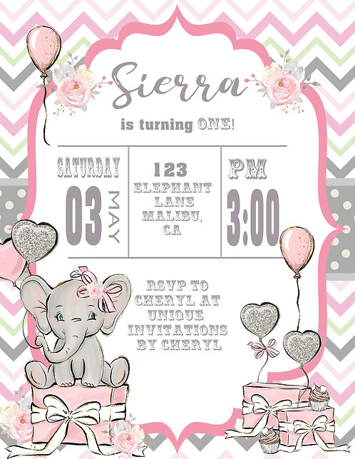 Pink Baby Elephant Birthday Invitation (sold in sets of 10)