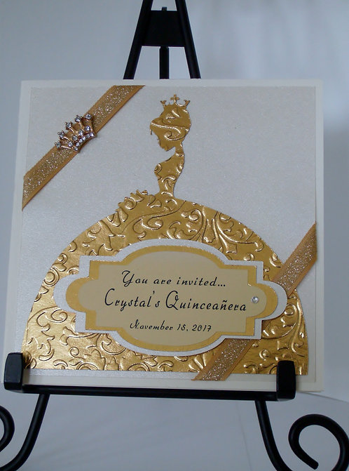 Golden Elegance Quinceañera and Event Invitation