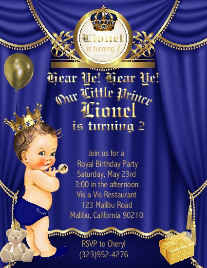 Little Prince Brunette Birthday Invitation