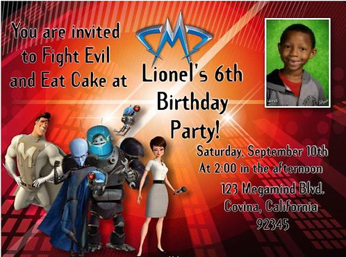 Megamind Birthday Party Invitation