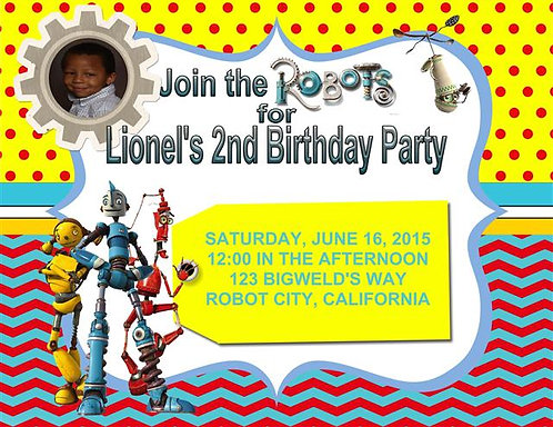 Robots Birthday Party Invitation
