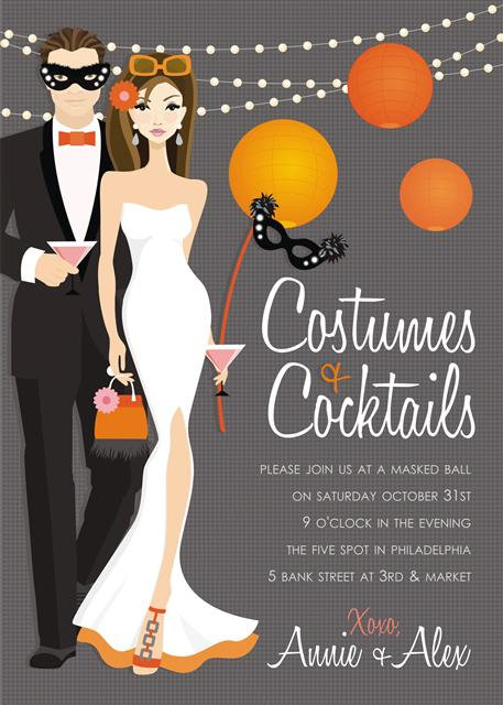 Brunette Couple's Costume Halloween Party and  Event Invitat