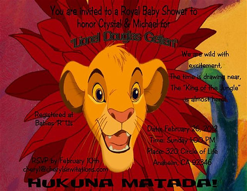 #9 Lion King Baby Shower Invitations