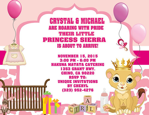 Lion King Princess Pink Shower Invitation  (sold in sets of 10)