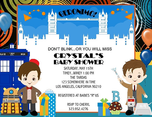 Dr Who Baby Shower Invitation