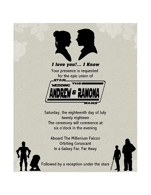 Star Wars Wedding and  Event Invitation (sold