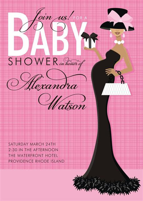 Pink Formal African American Baby Shower Invitations
