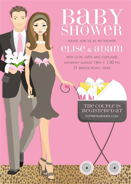 Pink Couples Stroller Baby Shower Invitations