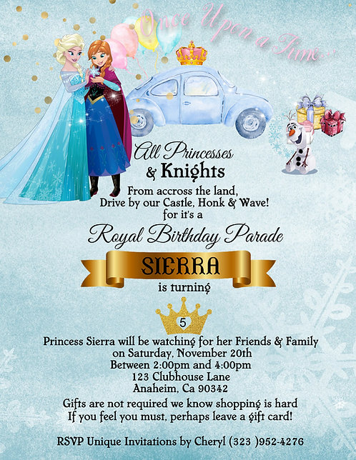 Princess Elsa & Anna Drive-By Birthday Party Invitation (sold in sets of 10)