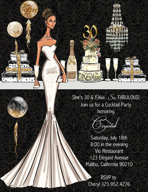 African-American Elegant Gold Birthday Party and  Event Invitation (sold in sets