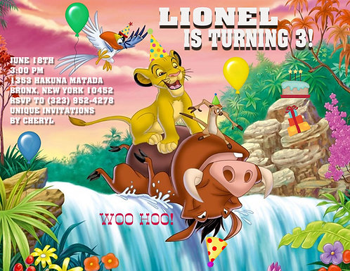 Lion King Waterfall Birthday Invitation (sold in sets of 10