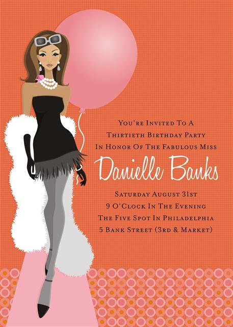 African American 30th Birthday Party and  Event Invitation
