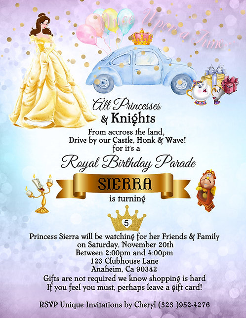 Princess Belle's  Drive-By Birthday Party Invitation (sold in sets of 10)