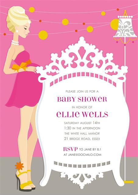 Blonde Elegant Pink Crib  Baby Shower Invitations