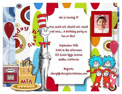 The Cat in the Hat Birthday Party Invitation