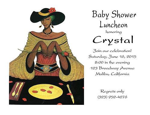 Ebony Luncheon Baby Shower Invitation
