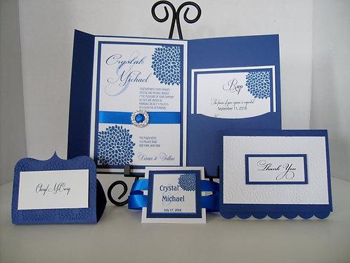 Chrysanthemum Glam Blue  Pocketfold Invitation