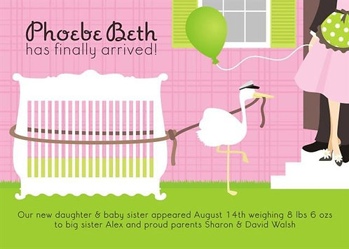 Pink Stork Baby Shower Invitations