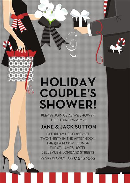 Holiday Couples Bridal Shower Party and  Event Invitation