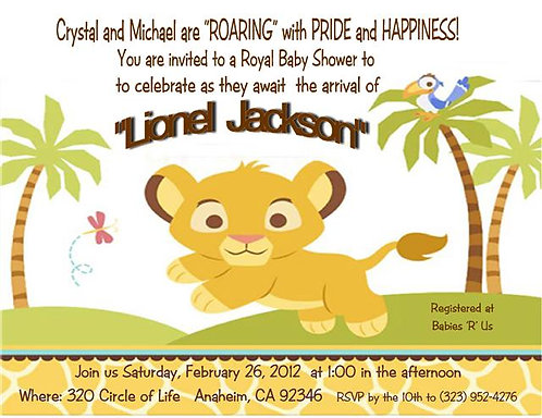 #15 Lion King Baby Shower Invitations