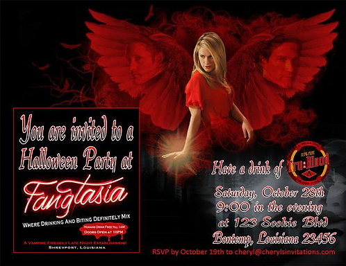 Red True Blood Costume Halloween Party and  Event Invitat