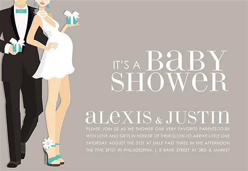 Blue Cool Couple Baby Shower Invitation