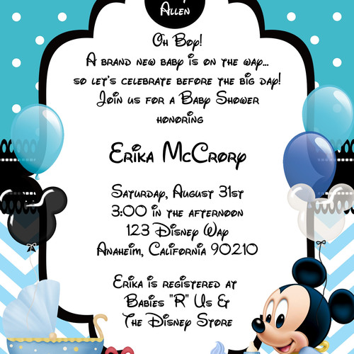 Blue Mickey Mouse Baby Shower Invitation