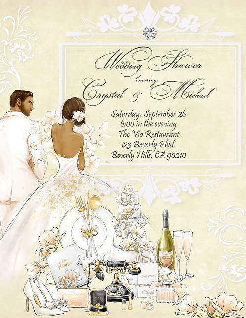 African Amer. Couples Champagne & Flowers Shower Invitation (sold in sets of 10)