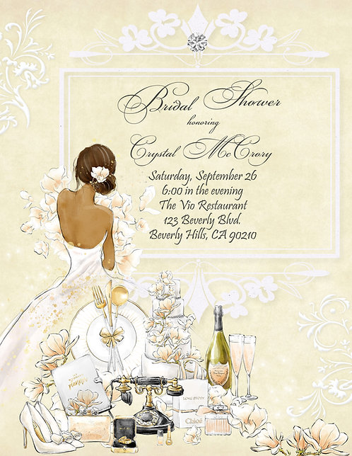 African Amer. Champagne & Flowers Bridal Shower Invitation (sold in sets of 10)
