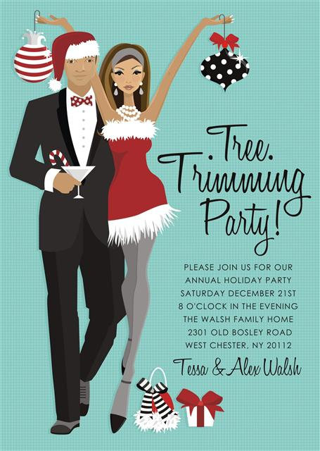African American Tree Trimming Holiday Party and  Event Invitation