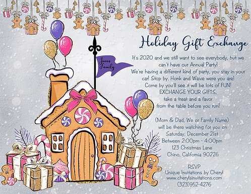 Gingerbread House Drive By Gift Exchange Invitation (sold in sets of 10)