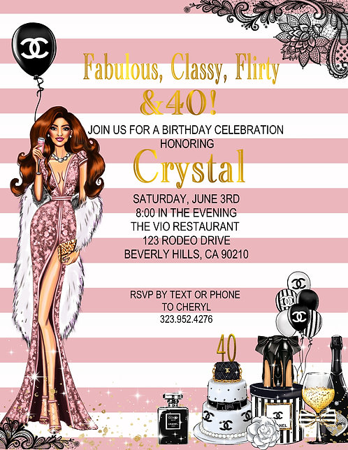 Chanel Pink Furred Birthday Party Event Invitation (sold in sets of 10)
