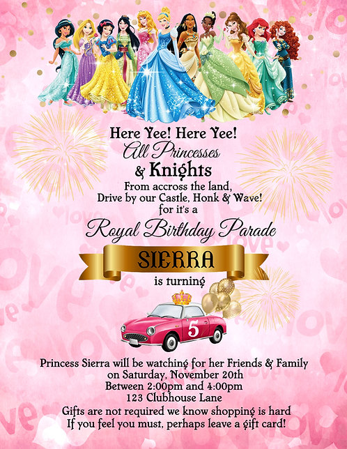 Princess Drive-By Birthday Party Invitation (sold in sets of 10)