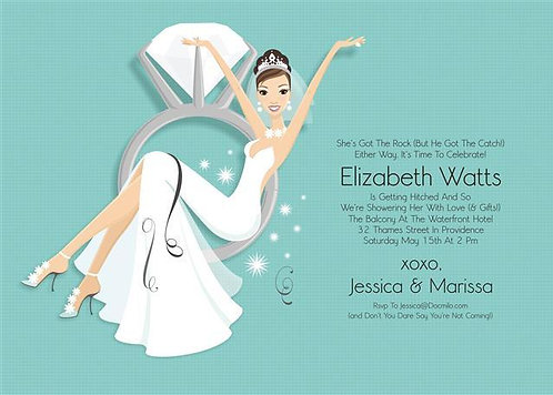 Swing from a Diamond Ring Brunette Bridal Shower and  Event Invitation