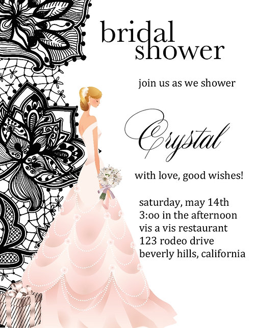 Blonde Black Lace Bridal Shower Party and  Event Invitation
