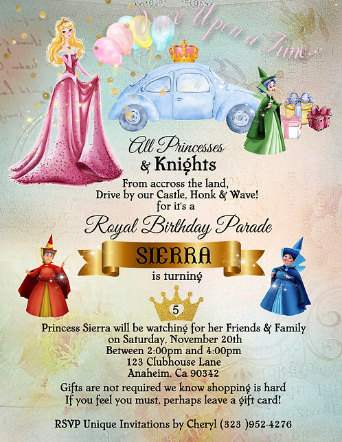 Princess Aurora's  Drive-By Birthday Party Invitation (sold in set of 10)