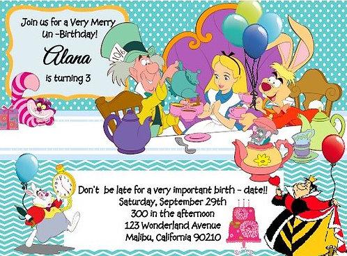 "Alice ""Unbirthday"" Children Tea Party Invitation"