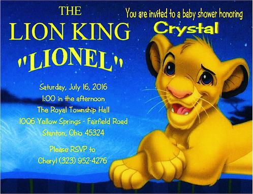 #7 Lion King Baby Shower Invitation