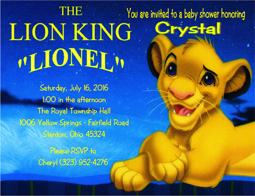 7 Lion King Baby Shower Invitation